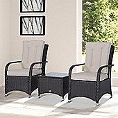 Outsunny Garden Rattan Furniture 3 PCs Bistro Set w/ Cover Aluminium Frame - Brown