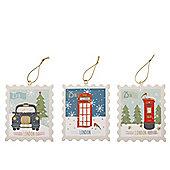 British Stamp Christmas Tree Decorations Set