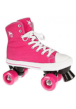 Rookie Quad Roller Skates - Canvas High Polka Dot Red/White - Pink