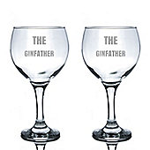 Rink Drink Engraved Spanish Gin Balloon Glasses - The Ginfather - 645ml - Pack of 2