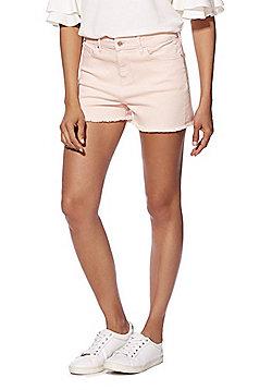 F&F Frayed Hem Mid Rise Denim Shorts - Pale Pink
