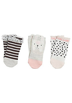F&F 3 Pair Pack of Bunny Motif Ankle Socks - Multi