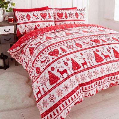 Noel, Christmas Themed Super King Size Bedding - Red
