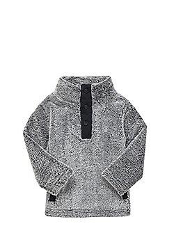 Minoti Faux Fur Button Neck Top - Grey