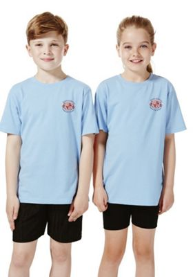 Unisex Embroidered School T-Shirt 3-4 years Sky blue