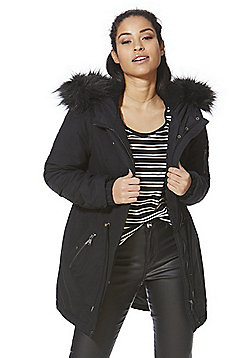 Vero Moda Faux Fur Trim Hooded Parka - Black