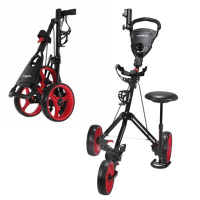 Caddymatic Golf X-Treme 3 Wheel Push/Pull Golf Trolley With Seat Black/Red
