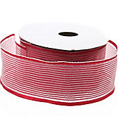 Ribbon Organza Stripe Sheer Ribbon - Burgundy -25m