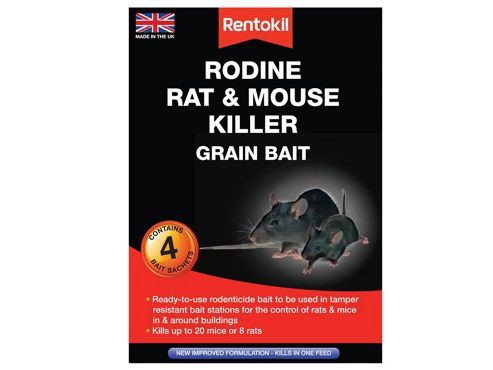 Rentokil Rodine Mouse & Rat Killer Grain Bait Pack of 4 Sachets