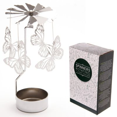 Puckator Spinners Rotating Tea Light Holder, Butterfly