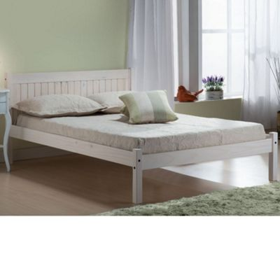 Happy Beds Rio Wood Low Foot End Bed with Open Coil Spring Mattress - White - 4ft6 Double