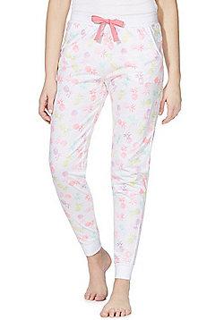 F&F Ombre Pineapple Print Cuffed Lounge Pants - White Multi
