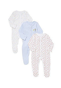 F&F 3 Pack of Little Garden Sleepsuits - Multi