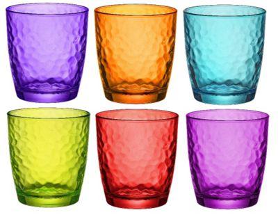 Bormioli Rocco Palatina Coloured Tumbler Glasses - 320ml - Multi Coloured -x 6