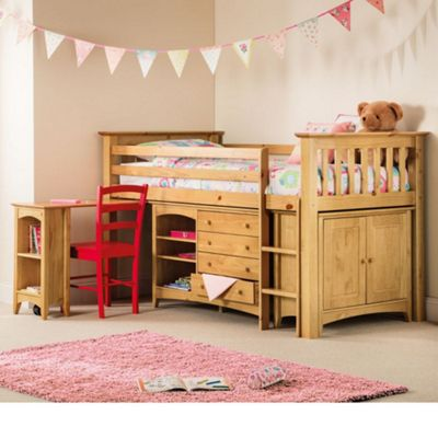 Happy Beds Barcelona Right Hand Ladder Wood Kids Midsleeper Cabin Desk Storage Bed with Open Coil Spring Mattress - Antique Pine - 3ft Single