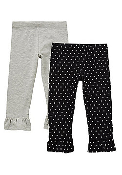 F&F 2 Pack of Polka Dot and Marl Frill Cuffs Leggings - Black & Grey