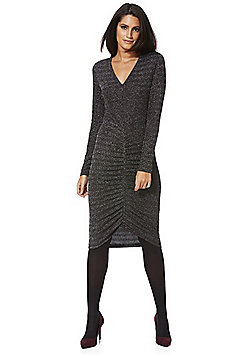 Mela London Ruched Front Metallic Dress - Black & Silver