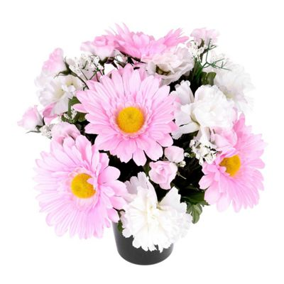 Homescapes Baby Pink and White Artificial Flowers in Grave Vase