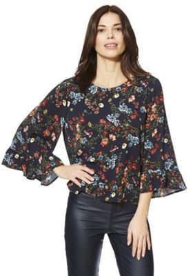 Only Floral Print Wide Sleeve Top Navy Multi XL