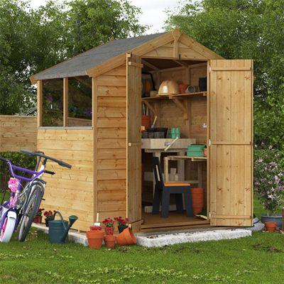 4x6 Overlap Wooden Garden Shed Double Door Windowed Apex Premium Roof Floor Felt - 4ftx6ft