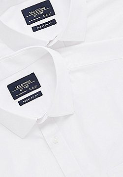 F&F 2 Pack of Easy Care Regular Fit Shirts - White