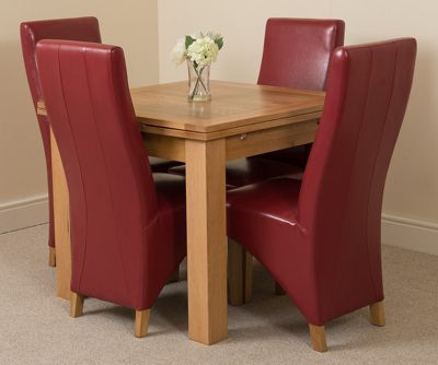 Richmond Solid Oak Extending 90 - 150 cm Dining Table with 4 Red Lola Leather Dining Chairs