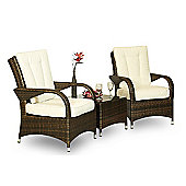 Ultra Stylish Arizona Rattan 2 Seat Arm Chair Set with Small Glass Table