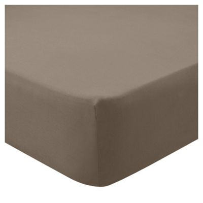 Tesco 68 pc Fitted Sheet mocha Single
