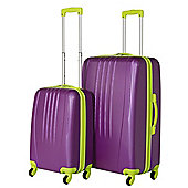 Swiss Case Luggage 4 Wheel Spinner Bold 2 Piece Abs Hard Shell Suitcase Set Purple/Lime
