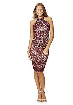AX Paris High Neck Sleeveless Lace Bodycon Dress - Burgundy