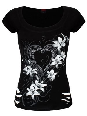 Pure Of Heart 2in1 White Ripped Women's Top, Black.