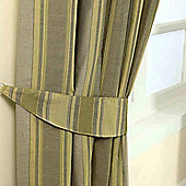 Homescapes Gold Jacquard Tie Back Pair Modern Striped Design