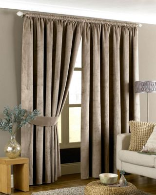 Riva Home Imperial Velvet Woven Pencil Pleat Lined Curtains, Taupe, 46 x 54 Inch