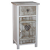 Hannah Shabby Chic White Wooden Bedside Table Cabinet