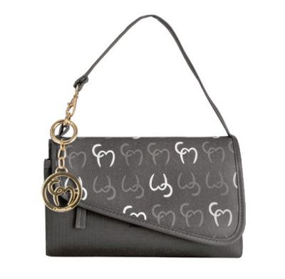 Clevamama Initials Collection Lara Asphalt Clutch Baby Changing Bag & Mat