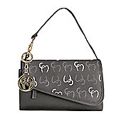 Clevamama Initials Collection Lara Asphalt Clutch Baby Changing Bag & Mat