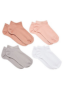 F&F 4 Pair Pack of Microfibre Trainer Socks - Neutral