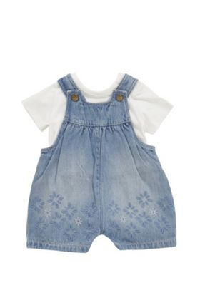 F&F Dungarees and T-Shirt Set Blue/White 3-6 months