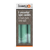 6 x Green Illumin8 Unscented 5.5Inch Taper Candles 4 hours Burn Time