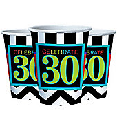 30th Birthday Cups - 255ml Paper Party Cups - 8 Pack