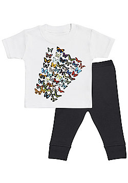 Butterflies - 2 piece baby bodysuit & baby trousers baby outfit set - White - White