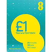 EE 4G £1 Talk and Text Pay as you go SIM Pack