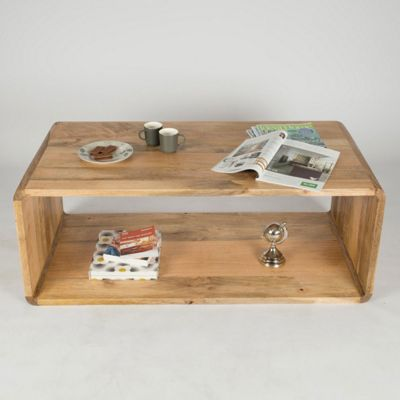 Homescapes Retro Style Hollow Rectangle Cube Coffee Table Natural