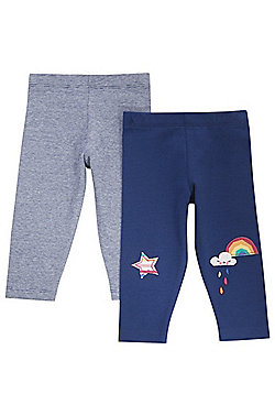 F&F 2 Pack of Rainbow Applique and Grindle Stripe Leggings - Navy