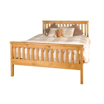 Comfy Living 4ft6 Double Slatted Bed Frame in Caramel with Damask Memory Mattress