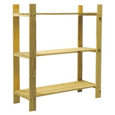 Home Essence Natural Slatted Unit - 3 Shelves