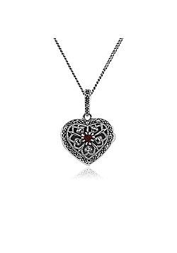 Gemondo Silver Necklace, Sterling Silver Garnet & Marcasite January Birthstone Heart Locket Necklace
