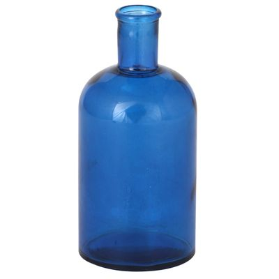 Prussian Blue Recycled Glass Retro Bottle Small