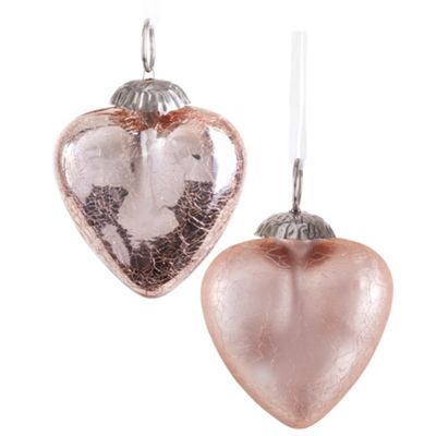 Set of Two Rose Gold Crackle Glass Heart Christmas Tree Bauble Decorations