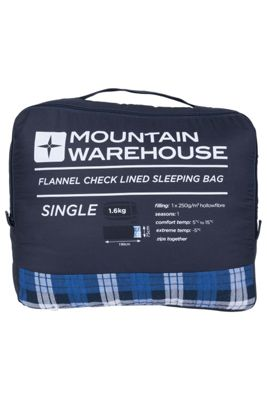 Single Check Flannel Lined Sleeping Bag